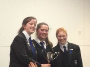 Emily, Julia, and Clare  with the Fred McComish Cup